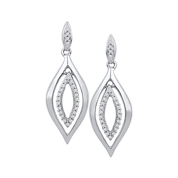 Diamond Double Oval Dangle Earrings 1/6 Cttw 10kt White Gold