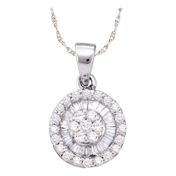 Diamond Flower Cluster Circle Pendant 5/8 Cttw 14k White Gold
