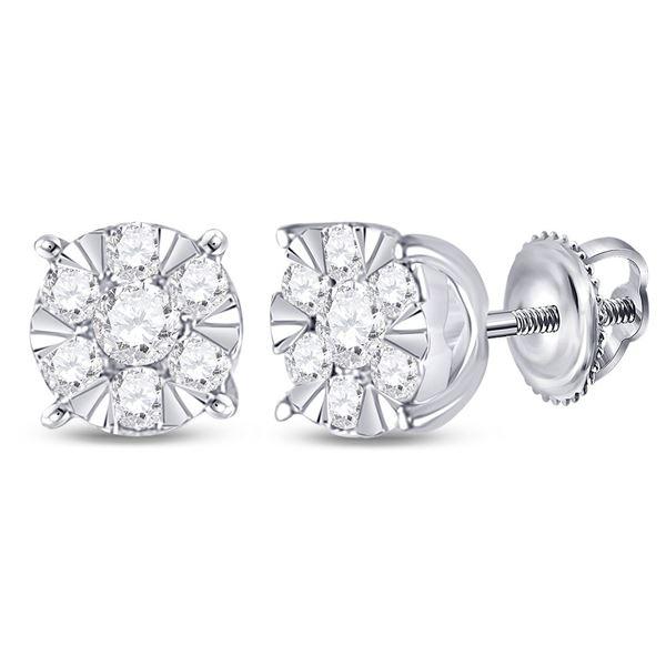Diamond Fashion Cluster Earrings 1/4 Cttw 14kt White Gold