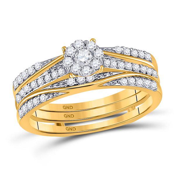 Diamond 3-Piece Bridal Wedding Ring Band Set 1/2 Cttw 10kt Yellow Gold