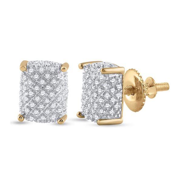 Mens Diamond Cluster Earrings 1/3 Cttw 10kt Yellow Gold