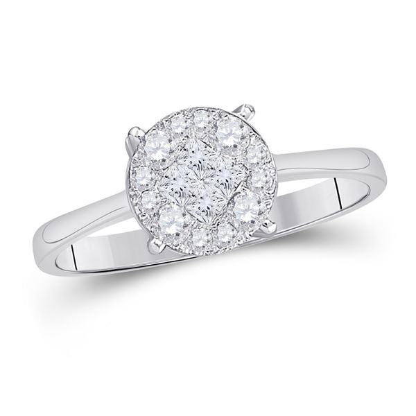 Princess Diamond Cluster Bridal Wedding Engagement Ring 1/2 Cttw 14kt White Gold