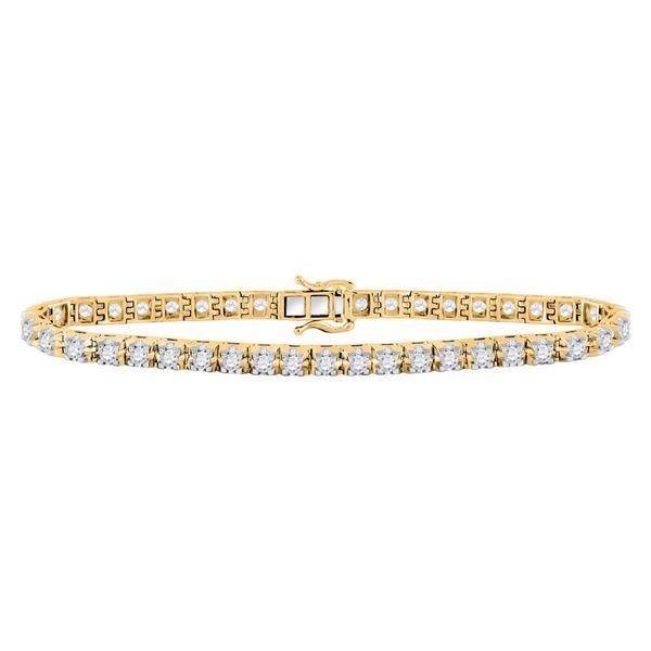 Diamond Studded Tennis Bracelet 7 Cttw 10kt Yellow Gold