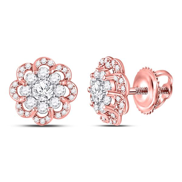 Diamond Flower Halo Cluster Earrings 1 Cttw 10kt Two-tone Gold