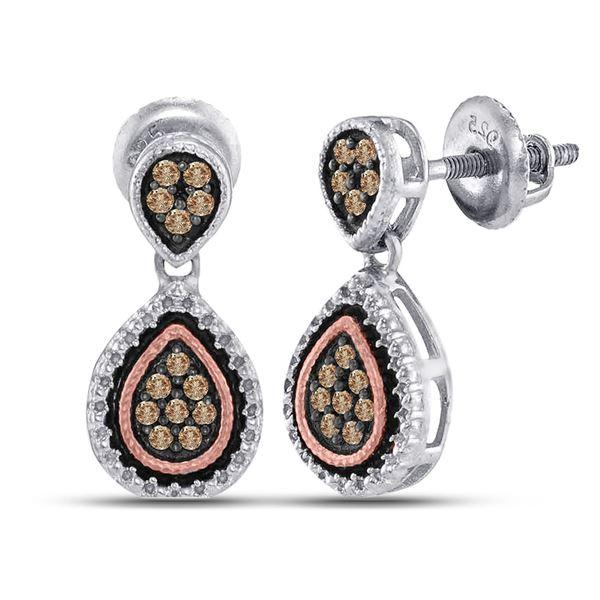 Brown Diamond Teardrop Dangle Earrings 1/5 Cttw Sterling Silver