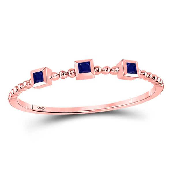 Princess Blue Sapphire 3-Stone Beaded Stackable Band Ring 1/20 Cttw 10kt Rose Gold