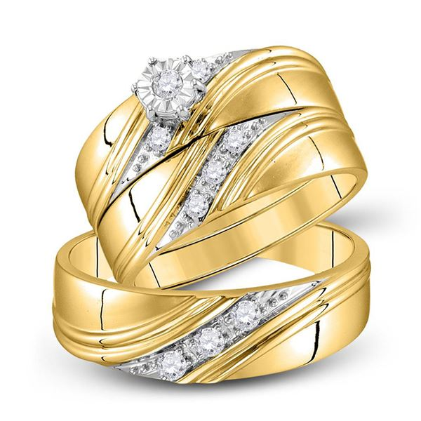 His Hers Diamond Solitaire Matching Wedding Set 1/4 Cttw 10kt Yellow Gold