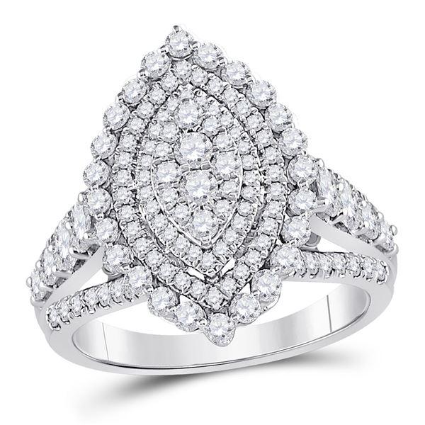 Diamond Cluster Bridal Wedding Engagement Ring 1-3/4 Cttw 14kt White Gold