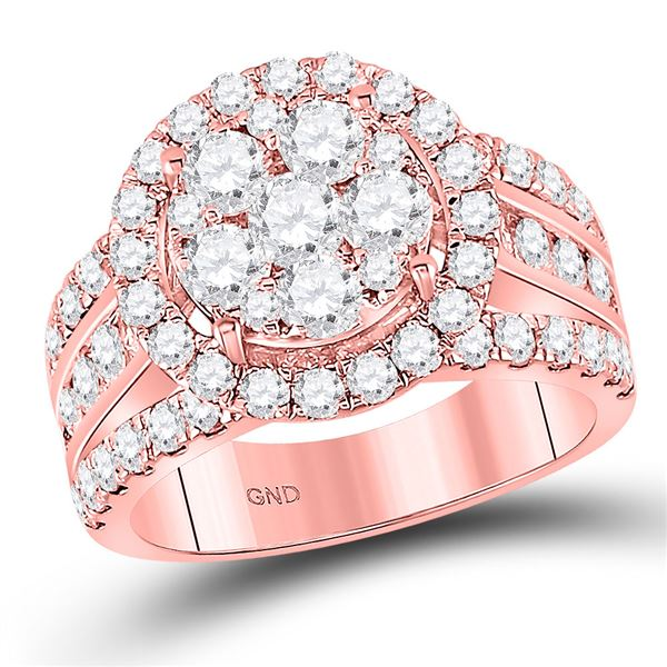 Diamond Cluster Bridal Wedding Engagement Ring 2 Cttw 14kt Rose Gold