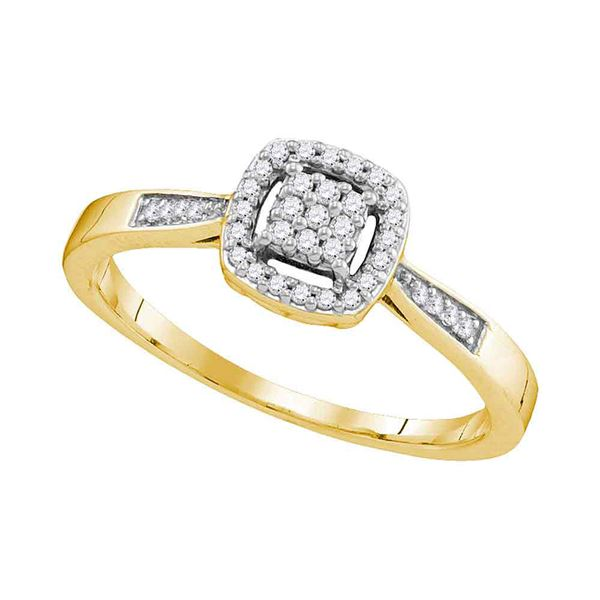 Diamond Square Cluster Ring 1/8 Cttw 10kt Yellow Gold