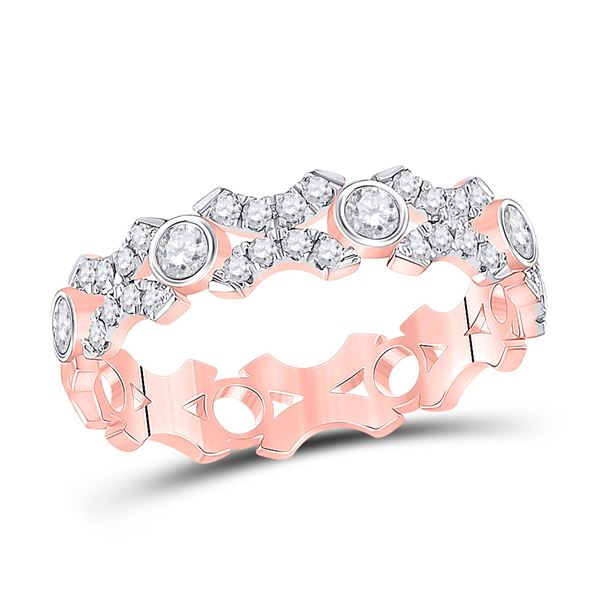 Diamond XOXO Stackable Band Ring 1/2 Cttw 10kt Rose Gold