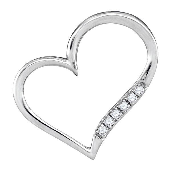 Diamond Heart Outline Pendant 1/20 Cttw 10kt White Gold