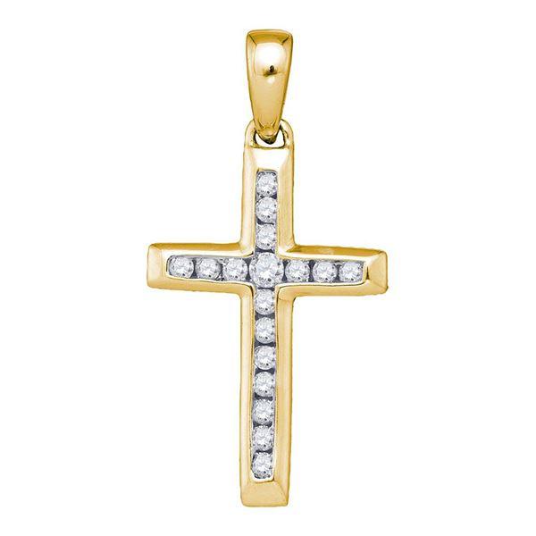 Diamond Small Cross Pendant 1/8 Cttw 10kt Yellow Gold