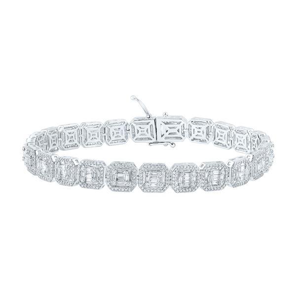 Mens Baguette Diamond Link Bracelet 5-3/4 Cttw 14kt White Gold