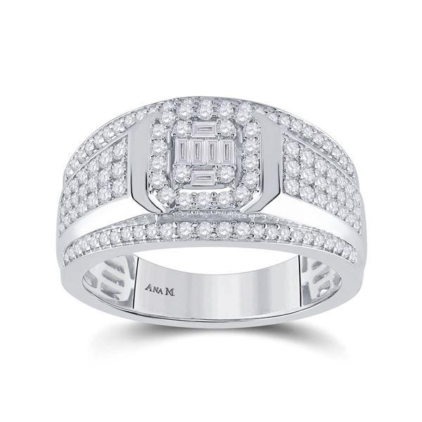 Baguette Diamond Square Cluster Ring 1 Cttw 14kt White Gold