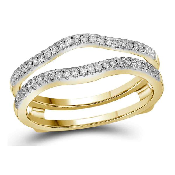 Diamond Ring Guard Wrap Solitaire Band Enhancer 1/4 Cttw 14kt Yellow Gold