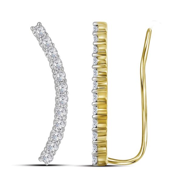 Diamond Curved Contour Climber Earrings 1 Cttw 14kt Yellow Gold