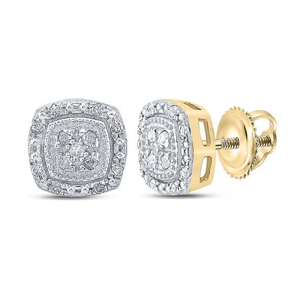 Diamond Cluster Earrings 1/10 Cttw 10kt Yellow Gold