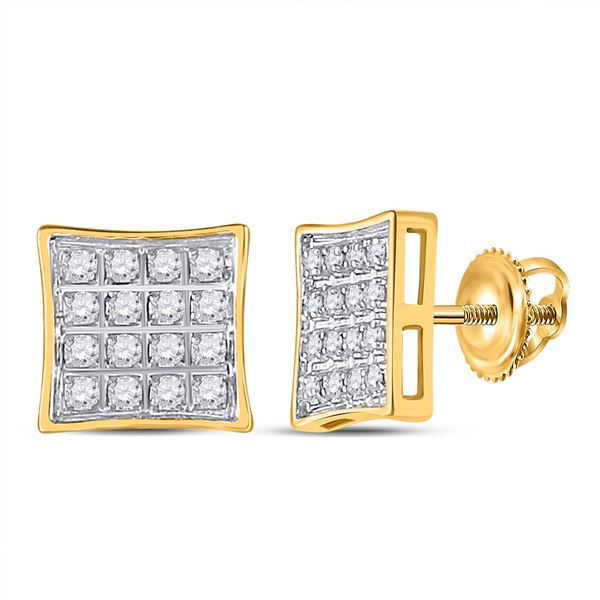 Diamond Square Earrings 1/10 Cttw 10kt Yellow Gold