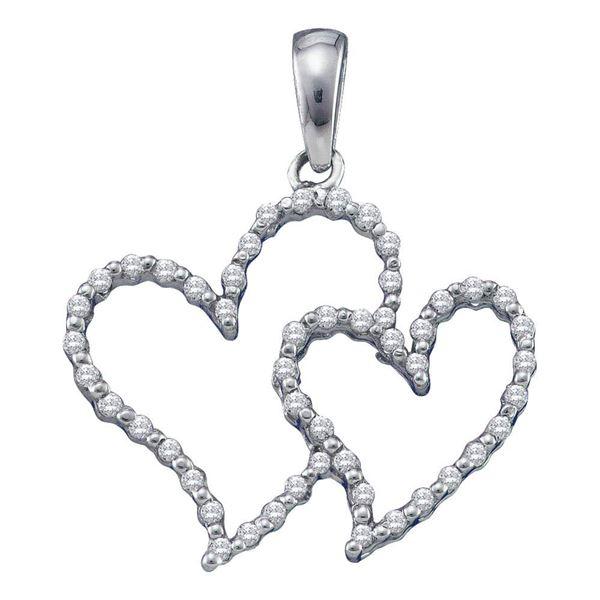 Diamond Double Outline Heart Pendant 1/6 Cttw 10kt White Gold