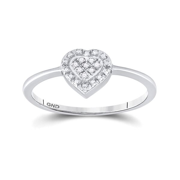 Diamond Heart Ring .03 Cttw Sterling Silver