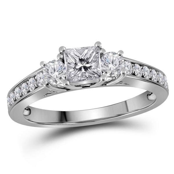 Princess Diamond 3-stone Bridal Wedding Engagement Ring 1 Cttw 14kt White Gold