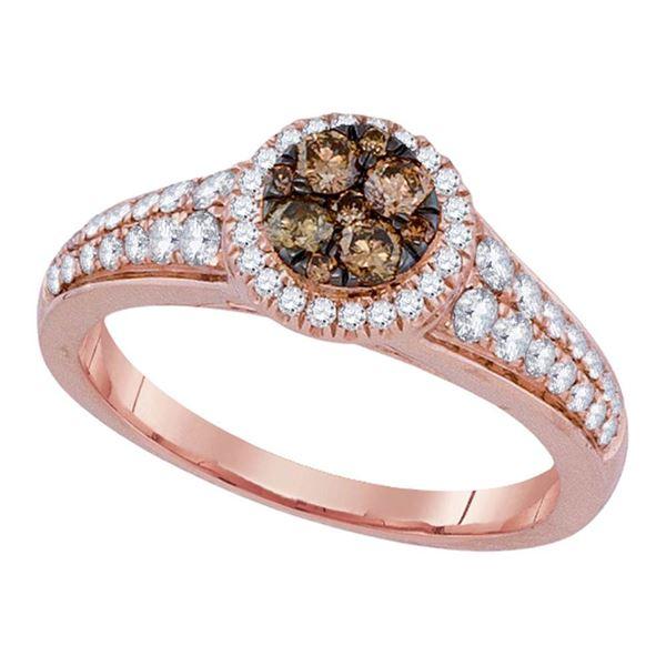 Brown Diamond Cluster Ring 3/4 Cttw 14kt Rose Gold