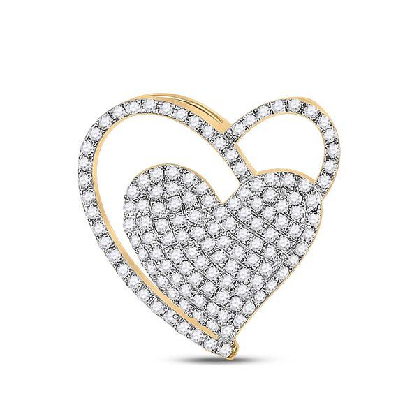 Diamond Heart Pendant 3/8 Cttw 10kt Yellow Gold