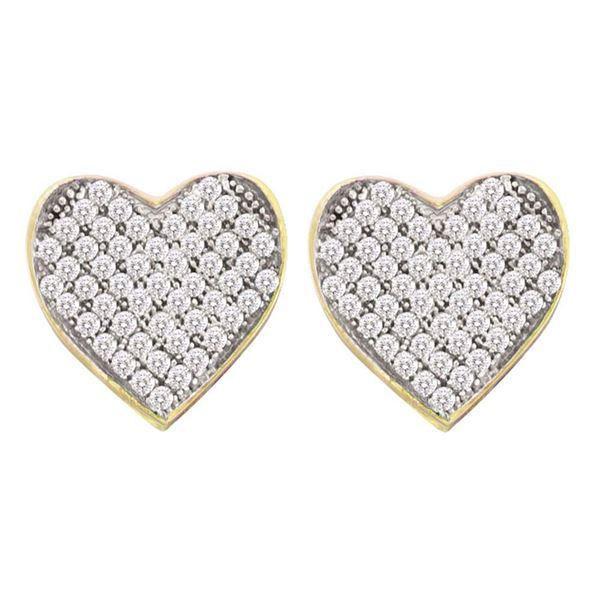 Diamond Heart Cluster Earrings 1/6 Cttw 10kt Yellow Gold