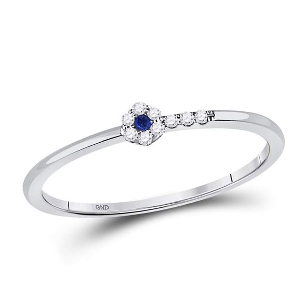 Blue Sapphire Diamond Stackable Band Ring 1/12 Cttw 10kt White Gold