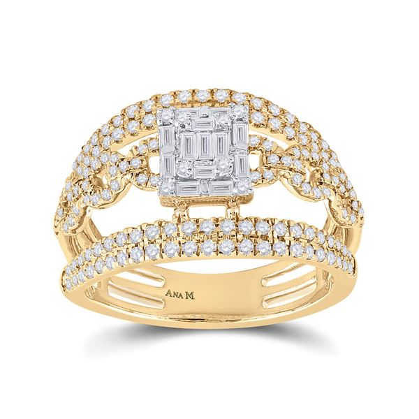 Baguette Diamond Cluster Chain Link Ring 7/8 Cttw 14kt Yellow Gold