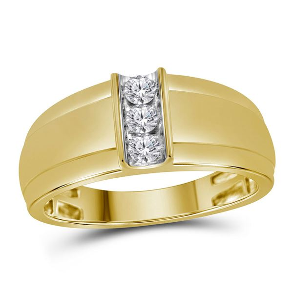 Mens Diamond Single Row Band Ring 1/4 Cttw 10kt Yellow Gold