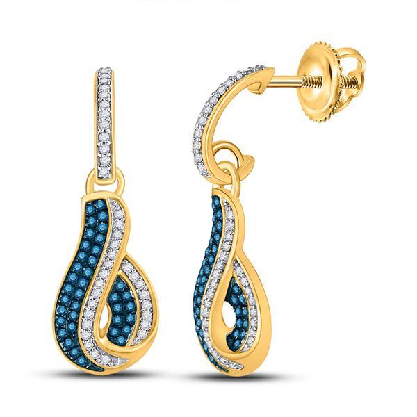 Blue Color Enhanced Diamond Dangle Earrings 3/8 Cttw 10kt Yellow Gold