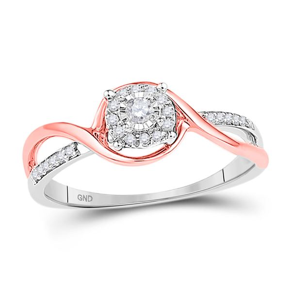 Diamond Solitaire Promise Ring 1/8 Cttw 10kt Two-tone Gold