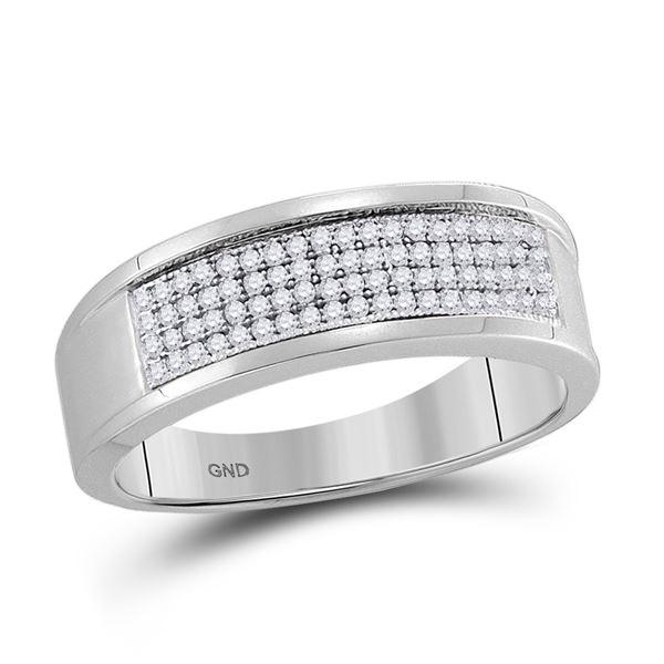 Mens Diamond Wedding Band Ring 1/4 Cttw 10kt White Gold