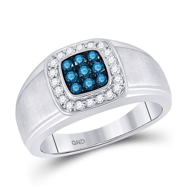 Mens Blue Color Enhanced Diamond Square Ring 1/2 Cttw 10kt White Gold
