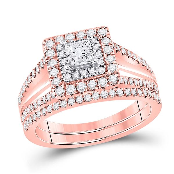 Princess Diamond Bridal Wedding Ring Band Set 1 Cttw 14kt Two-tone Gold