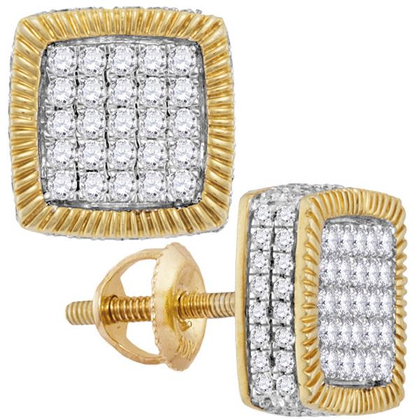 Mens Diamond Square Fluted Cluster Earrings 7/8 Cttw 10kt Yellow Gold