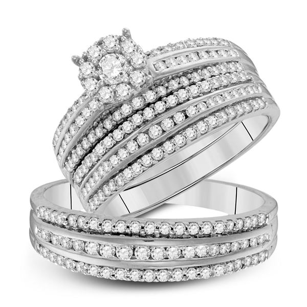 His Hers Diamond Cluster Matching Wedding Set 1-1/4 Cttw 14kt White Gold