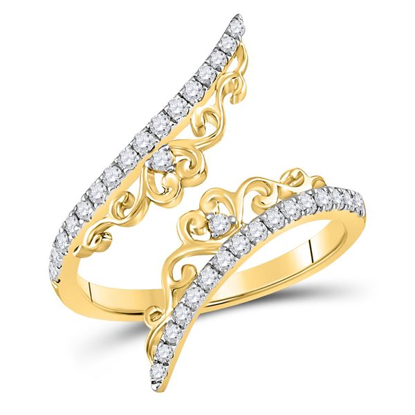Diamond Modern Bypasss Fashion Ring 1/3 Cttw 14kt Yellow Gold