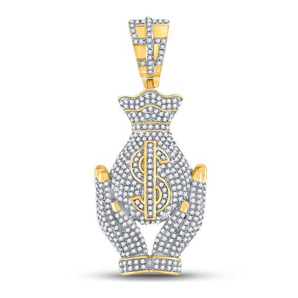 Mens Diamond Money Bag Hands Charm Pendant 1-1/3 Cttw 10kt Yellow Gold