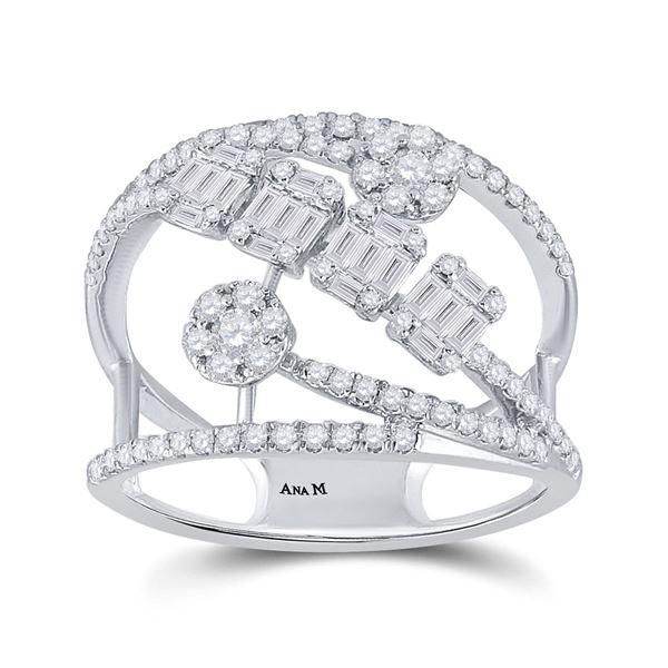 Baguette Diamond Modern Fashion Ring 3/4 Cttw 14kt White Gold