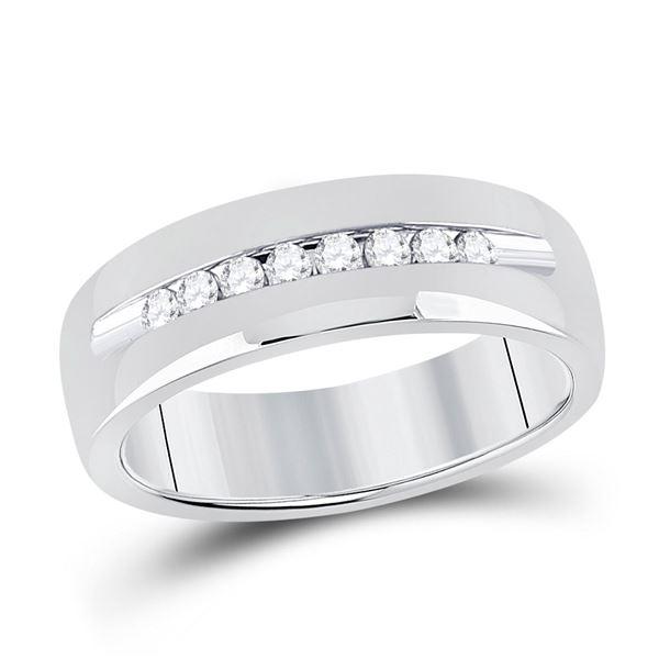 Mens Diamond Wedding Single Row Band Ring 1/4 Cttw 14kt White Gold