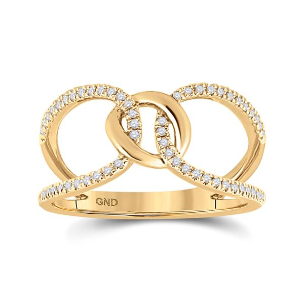 Diamond Negative Space Link Fashion Ring 1/6 Cttw 14kt Yellow Gold