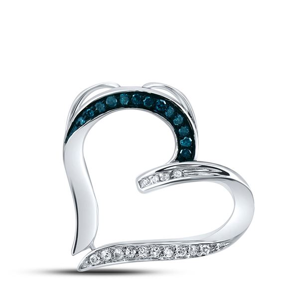 Blue Color Enhanced Diamond Bisected Heart Pendant 1/10 Cttw Sterling Silver