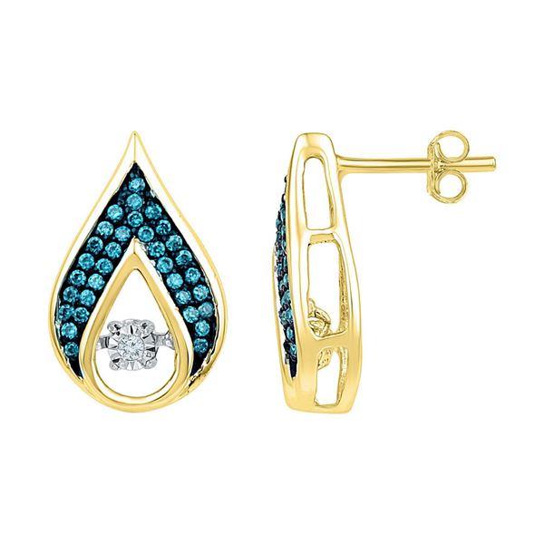 Blue Color Enhanced Diamond Teardrop Earrings 1/4 Cttw 10kt Yellow Gold