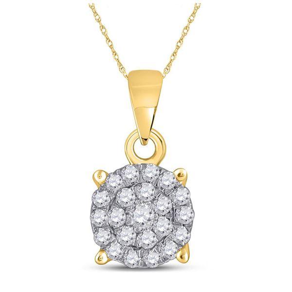 Diamond Cluster Pendant 1/4 Cttw 10kt Yellow Gold
