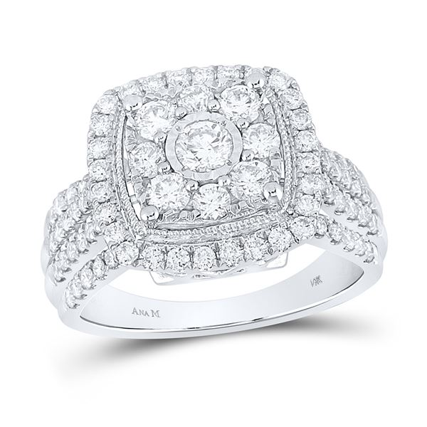 Diamond Right Hand Cluster Cushion Ring 1-1/2 Cttw 14kt White Gold