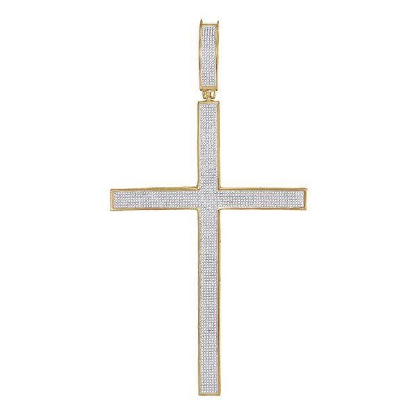 Mens Diamond Roman Cross Large Charm Pendant 2 Cttw 10kt Yellow Gold