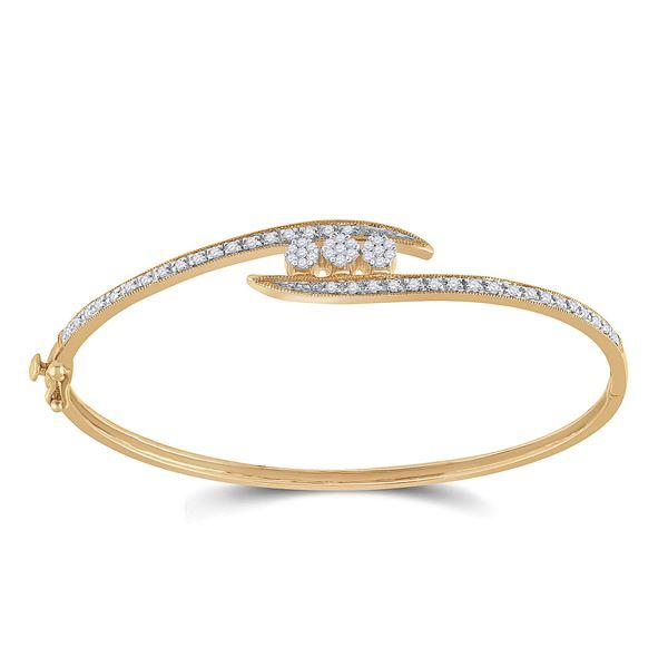 Diamond Cluster Bangle Bracelet 1/2 Cttw 14kt Yellow Gold